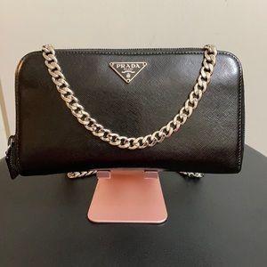 Prada Saffiano Leather Zip Around Wallet On Chain